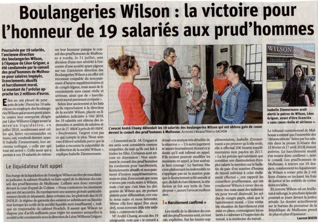 Boulangerie Wilson la victoire de Maitre Chamy Avocat à Mulhouse